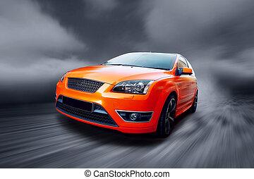 mooi, sinaasappel, sportende, auto, op, straat