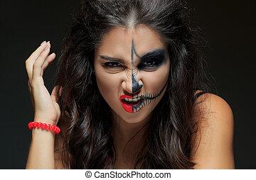 mooi, skeleton., vrouw, half-confronteren, make-up