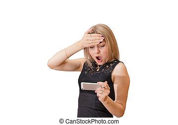 mooi, smartphone, blonde, media, jonge, geshockeerde, inhoud, meisje, jouw, aanzicht