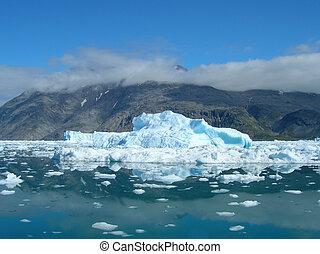 mooi, smeltende, zomer, kust, day., ijsbergen, groenland