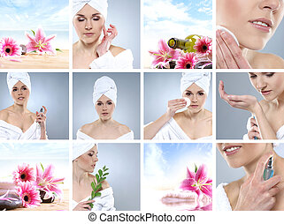 mooi, spa, collage, gemaakt, van, velen, communie
