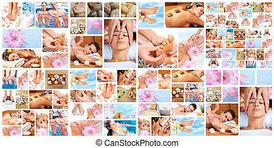 mooi, spa, masseren, collage.