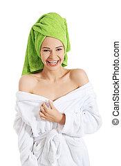 mooi, spa, vrouw, bathrobe.