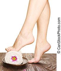 mooi, spa, vrouw, concept, legs.