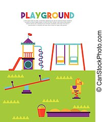mooi, speelplaats, kinderen, pictogram