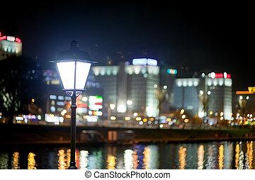 mooi, stad, metropolis, wit-rusland, nemiga, minsk, river., straat, nacht, achtergrond, aanzicht