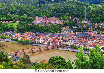 mooi, stad, oud, middeleeuws, heilig, rivier, panoramisch, neckar, incluis, theodor, carl, kerk, duitsland, geest, heidelberg, brug, aanzicht
