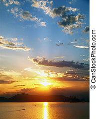 mooi, stad, santos, brazilie, ondergaande zon