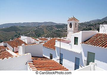 mooi, stad, sol, costa, andalusia, del, witte , frigiliana...