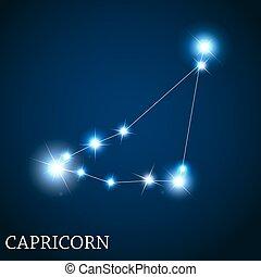 mooi, steenbok, meldingsbord, helder, vector, sterretjes, zodiac, illus