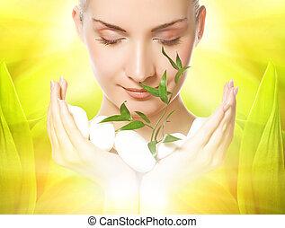 mooi, stenen, plant, vrouw, jonge, op, door, vasthouden, groeiende