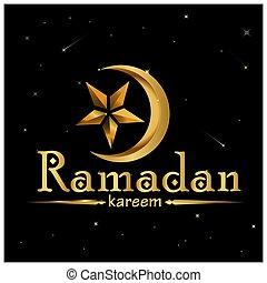 mooi, ster, goud, groet, ramadan, kareem, maan, kaart, pictogram