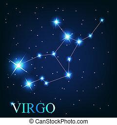 mooi, sterretjes, hemel, kosmisch, meldingsbord, maagd, helder, vector, achtergrond, zodiac