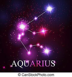 mooi, sterretjes, hemel, waterman, kosmisch, meldingsbord, helder, vector, achtergrond, zodiac