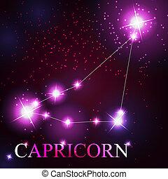 mooi, sterretjes, steenbok, hemel, kosmisch, meldingsbord, helder, achtergrond, zodiac