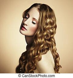 mooi, stijl, foto, jonge, ouderwetse , woman.