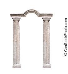mooi, stijl, klassiek, vrijstaand, achtergrond, witte , kolommen