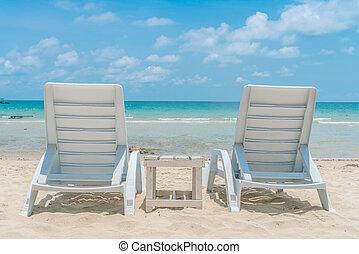 mooi, stoelen, tropische , zand, wit strand