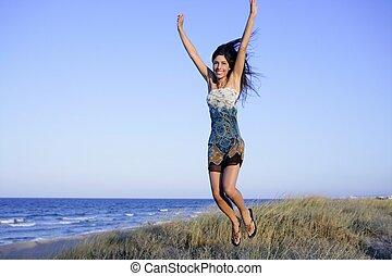 mooi, strand, brunette, springt