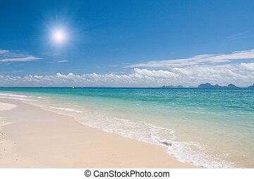 mooi, strand, en, zee