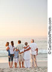 mooi, strand, gezin
