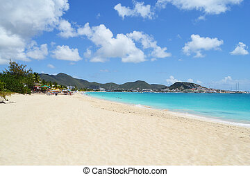 mooi, strand, in, de, de caraïben