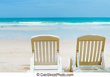 mooi, strand, in, zomertijd