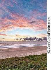 mooi, strand, landscape, op, zonopkomst