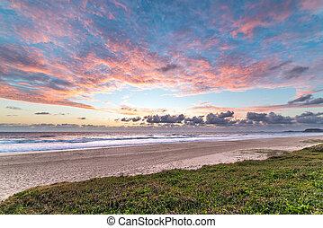 mooi, strand, landscape, zonopkomst