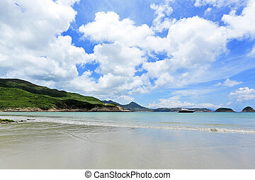 mooi, strand, op, eiland