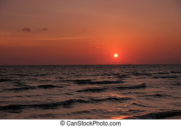 mooi, strand, op, ondergaande zon , in, thailand