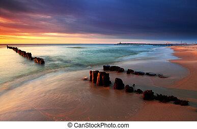 mooi, strand., polen, zee, baltisch, zonopkomst