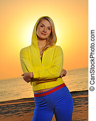 mooi, strand, vrouw, ondergaande zon