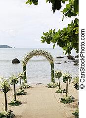 mooi, strandhuwelijk, set-up.
