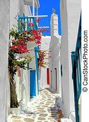 mooi, straten, griekenland