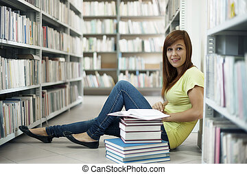 mooi, student, in, bibliotheek