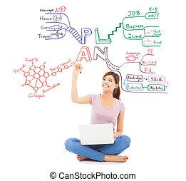 mooi, student, tekening, een, toekomst, plan, door,...