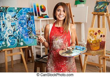 mooi, studio, vrouwlijk, haar, kunstenaar