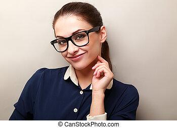 mooi, succesvolle , zakenmens , in, bril, het kijken