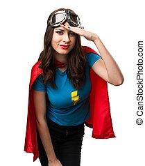 mooi, superhero, meisje, het tonen, iets