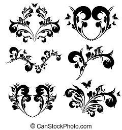 mooi, swirls, witte , black