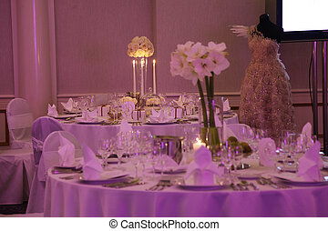 mooi, tafel, set, trouwfeest