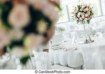 mooi, tafels, trouwfeest, rozen