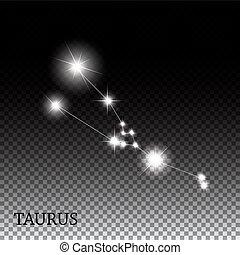 mooi, taurus, meldingsbord, helder, sterretjes, zodiac