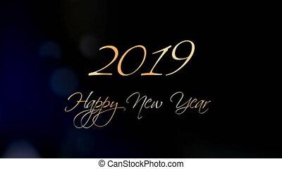 mooi, tekst, groet, animatie, jaar, nieuw, 2019., vrolijke