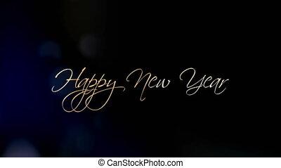 mooi, tekst, groet, animatie, jaar, nieuw, vrolijke