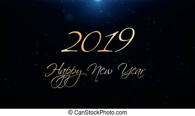 mooi, tekst, groet, animatie, opener, jaar, nieuw, 2019., vrolijke