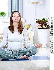 mooi, thuis, vrouw, yoga, zwangere