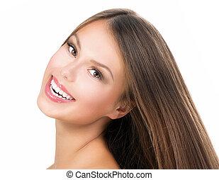 mooi, tiener, beauty, face., verticaal, model, meisje