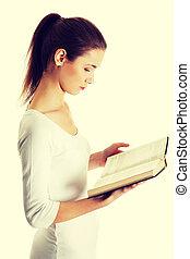 mooi, tiener, bible., vrouwlijk